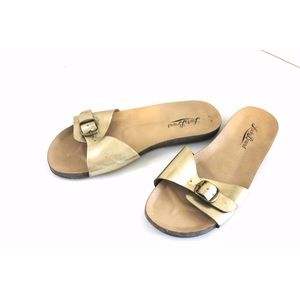 Lucky Brand Gold Metallic 'Dolliee' Buckle Slides